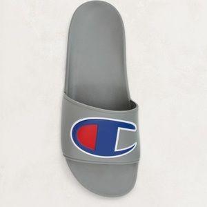 4fc4cbcce Champion Shoes - Gray champion large logo slides NWT